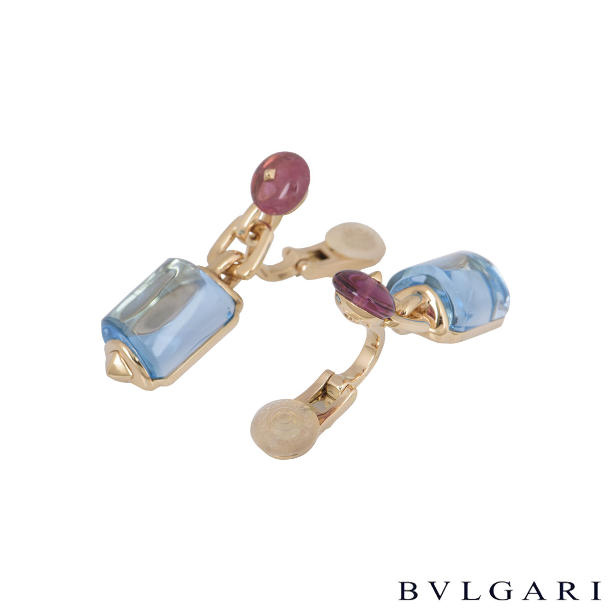 Bvlgari Rose Gold Amethyst And Aquamarine Earrings